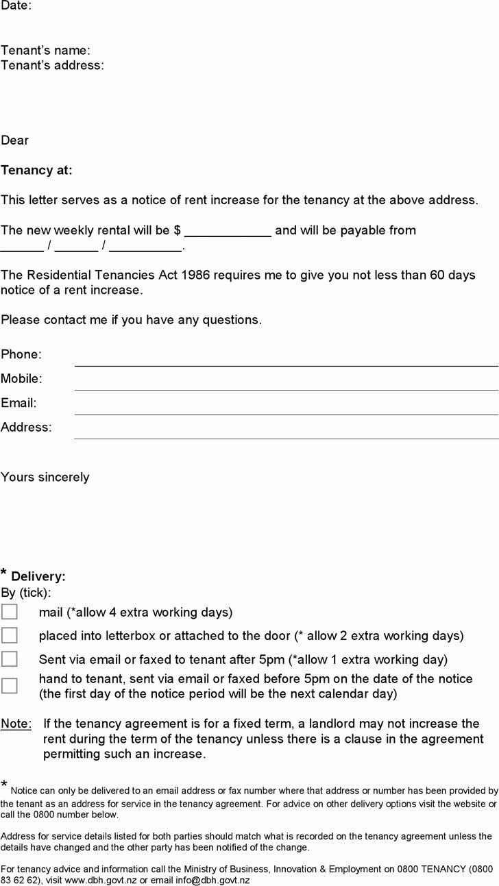Sample Rent Increase Notice New 3 Notice Of Rent Increase Free Download