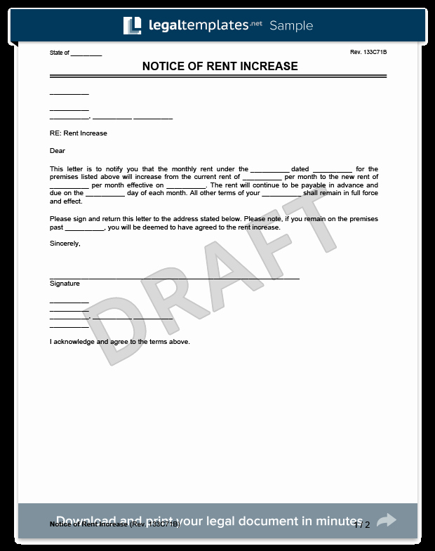 Sample Rent Increase Notice Unique Create A Rent Increase Notice In Minutes