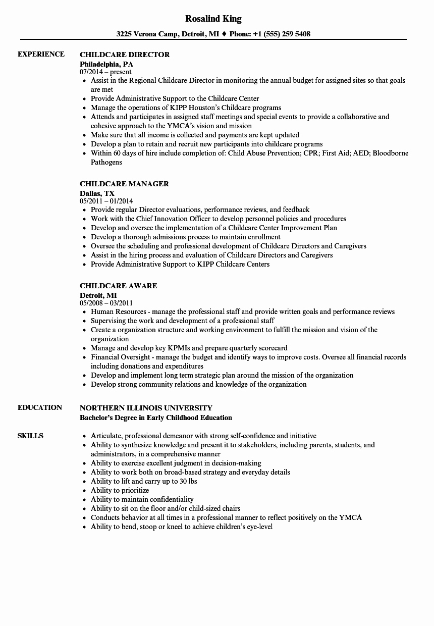 Sample Resume for Child Care Awesome Childcare Resume Samples