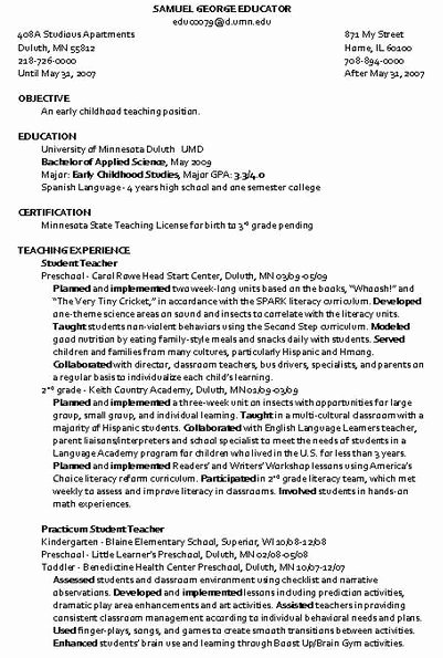 Sample Resume for Child Care Beautiful Child Care Instructor Resume Sample