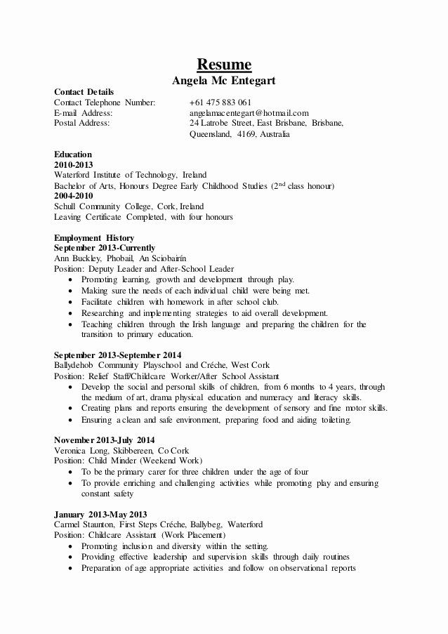 Sample Resume for Child Care Beautiful Childcare Resume