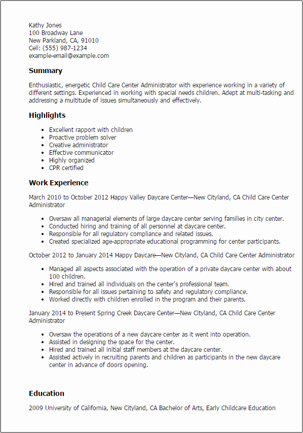 Sample Resume for Child Care Best Of 1 Child Care Center Administrator Resume Templates Try