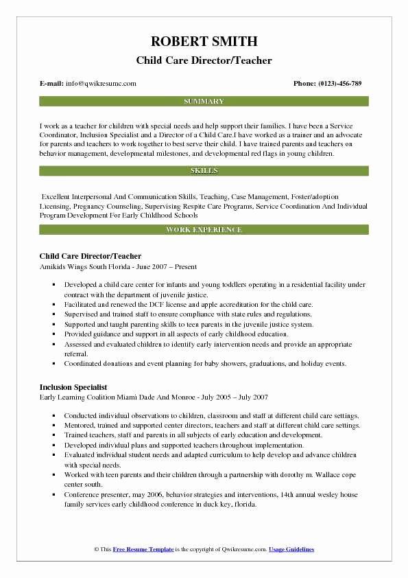 Sample Resume for Child Care Elegant Child Care Director Resume Samples