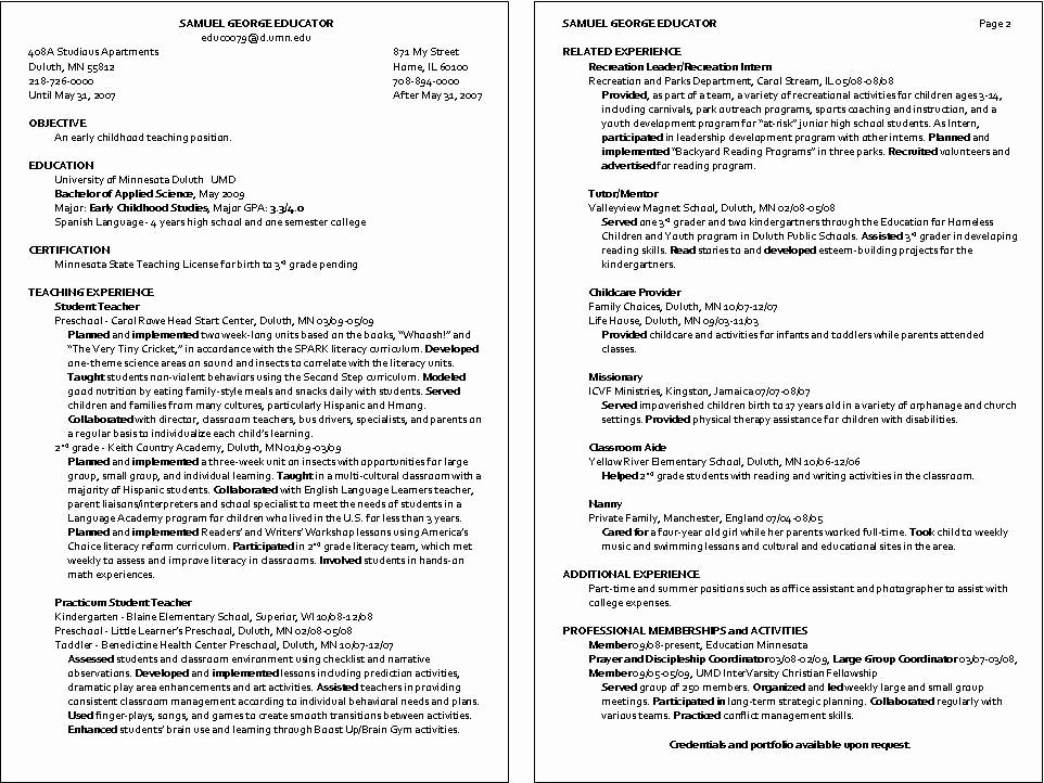 Sample Resume for Child Care Inspirational Child Care Instructor Resume Sample