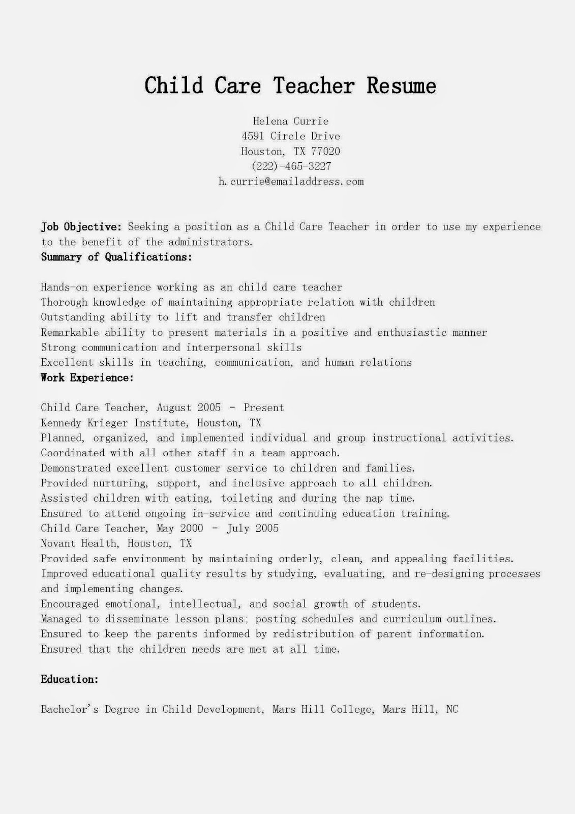 Sample Resume for Child Care Inspirational Resume Samples Child Care Teacher Resume Sample
