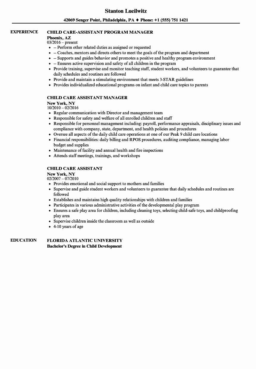 Sample Resume for Child Care Lovely Child Care assistant Resume Samples