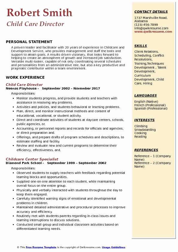 Sample Resume for Child Care Lovely Child Care Director Resume Samples