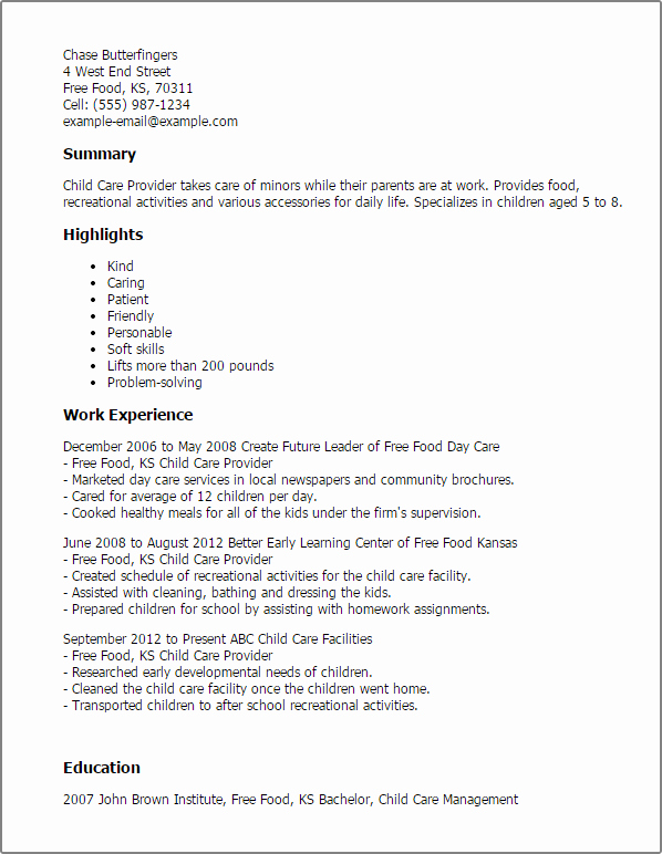 Sample Resume for Child Care Lovely Child Care Provider Resume Template — Best Design & Tips