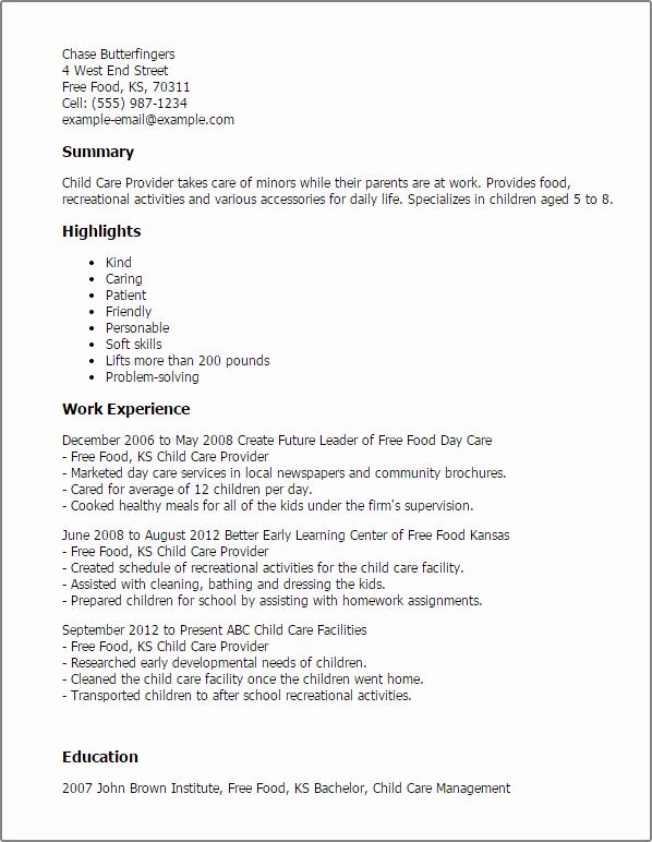 Sample Resume for Child Care Lovely Child Care Provider Resume Template — Best Design & Tips