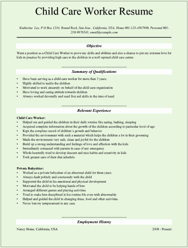 Sample Resume for Child Care Lovely Sample Child Care Worker Resumes for Microsoft Word C