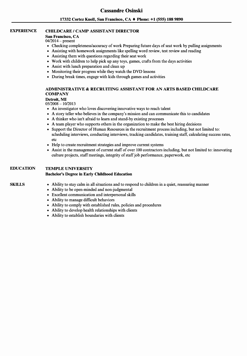 Sample Resume for Child Care Luxury Childcare assistant Resume Samples