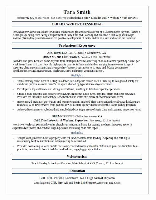 Sample Resume for Child Care New Child Care Resume Sample