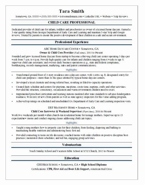 Sample Resume for Child Care New Child Care Resume Sample