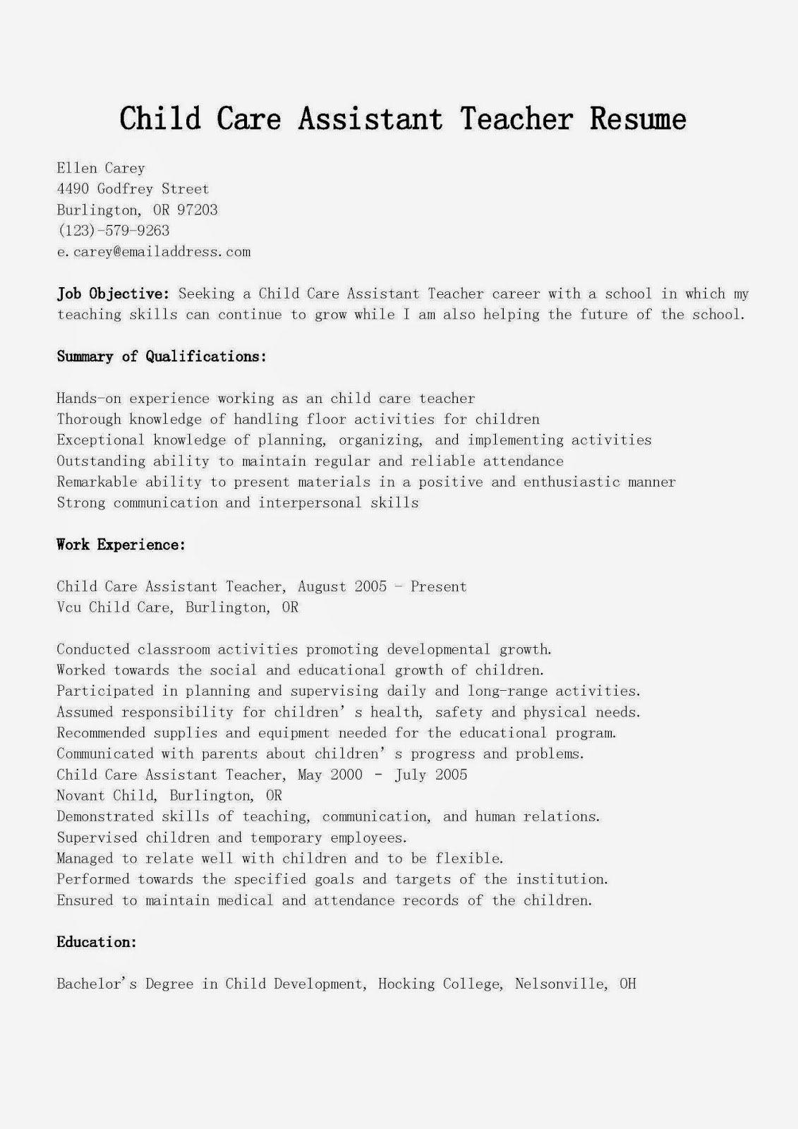 Sample Resume for Child Care New Resume Samples Child Care assistant Teacher Resume Sample