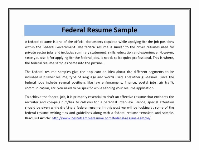Sample Resume for Federal Job Elegant Federal Resume Sample Pdf