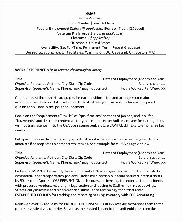 Sample Resume for Federal Job Fresh Sample Federal Resume 8 Examples In Word Pdf