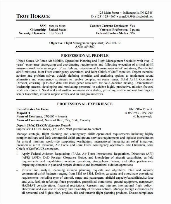 Sample Resume for Federal Job New Federal Resume Example