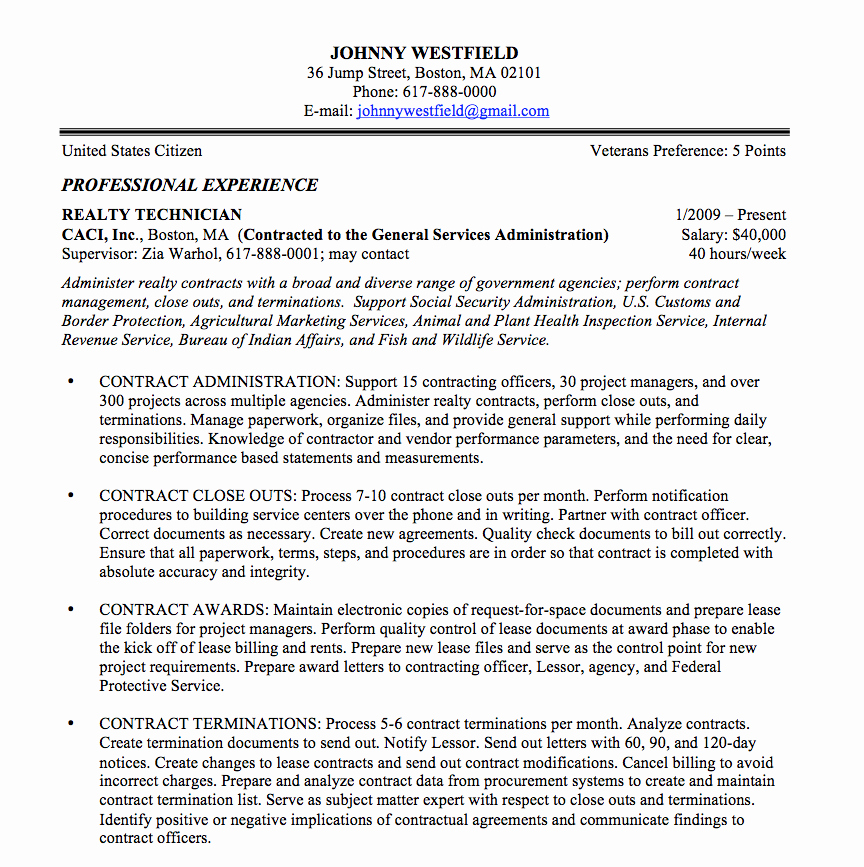 Sample Resume for Federal Jobs Best Of Federal Resume Sample and format the Resume Place
