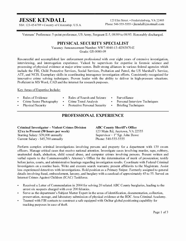 Sample Resume for Federal Jobs Fresh Federal Government Resume Samples if It is Your First for