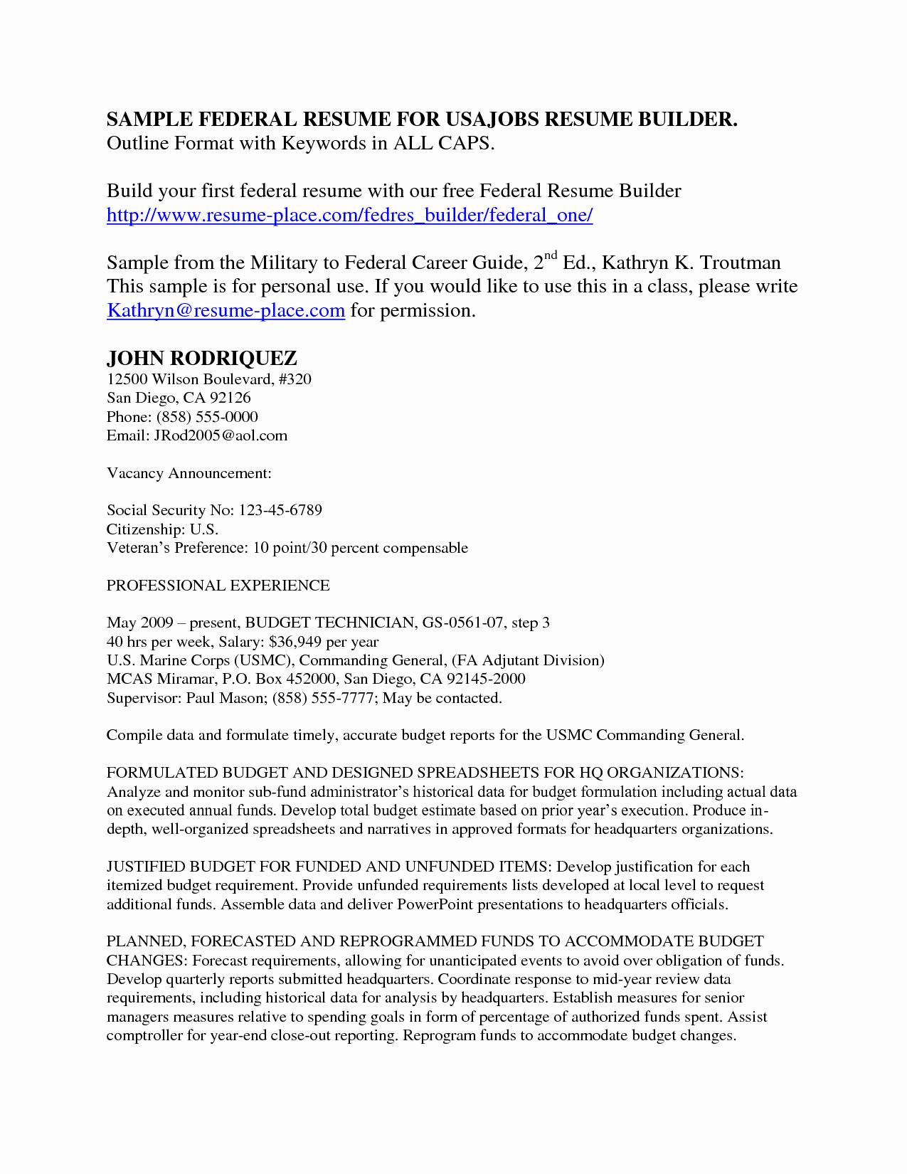 Sample Resume for Federal Jobs Fresh Resume Examples Usa Jobs 1 Resume Examples