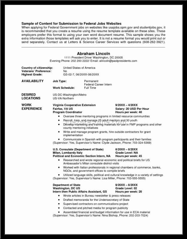 Sample Resume for Federal Jobs Lovely Federal Resume Example