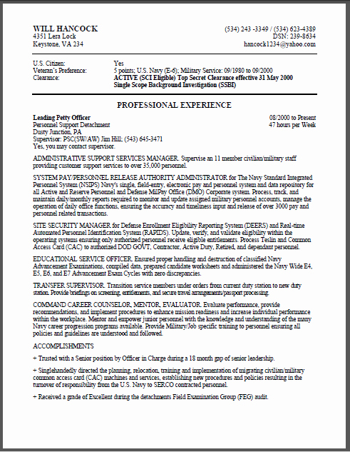 Sample Resume for Federal Jobs Unique Military to Federal Resume Sample Certified Resume