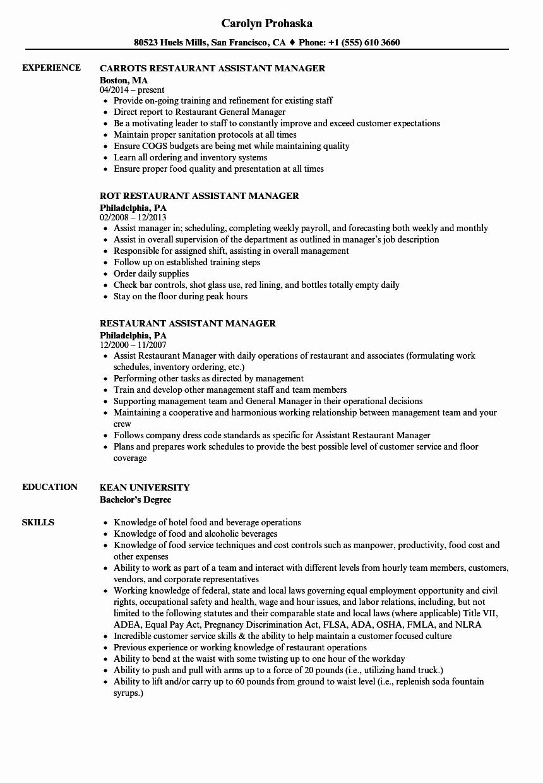 Sample Resume for Restaurant Awesome Restaurant assistant Manager Resume Samples