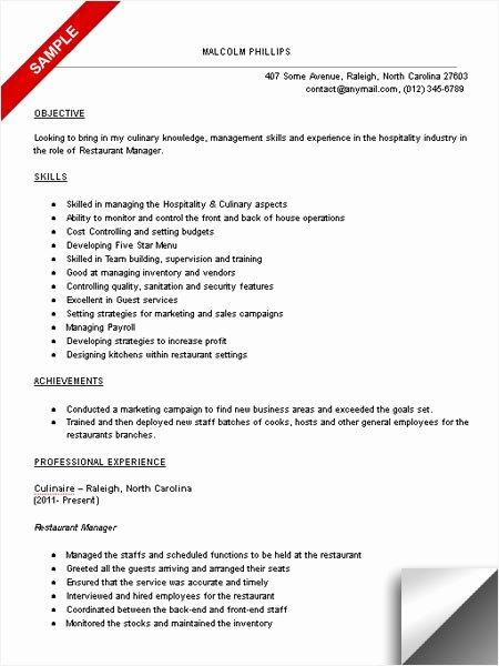 Sample Resume for Restaurant Awesome Restaurant Manager Resume Sample Limeresumes
