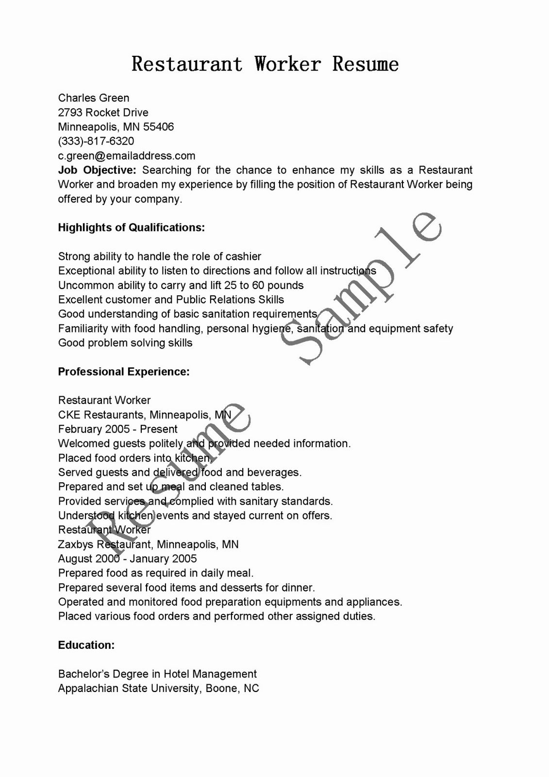 Sample Resume for Restaurant Awesome Resume Samples Restaurant Worker Resume Sample