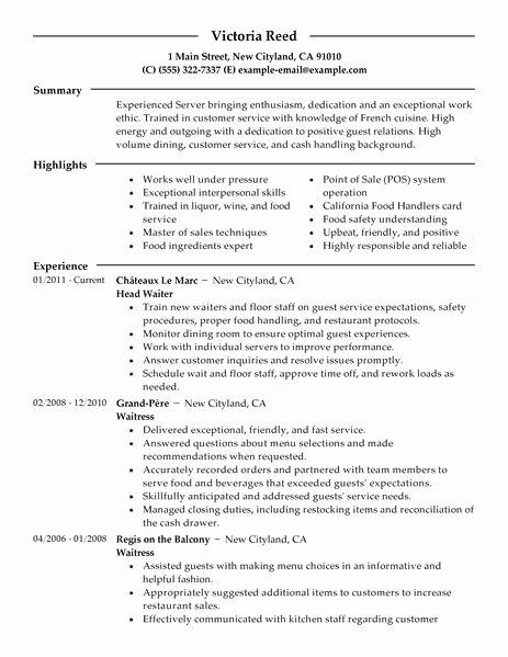 Sample Resume for Restaurant Beautiful Best Server Resume Example