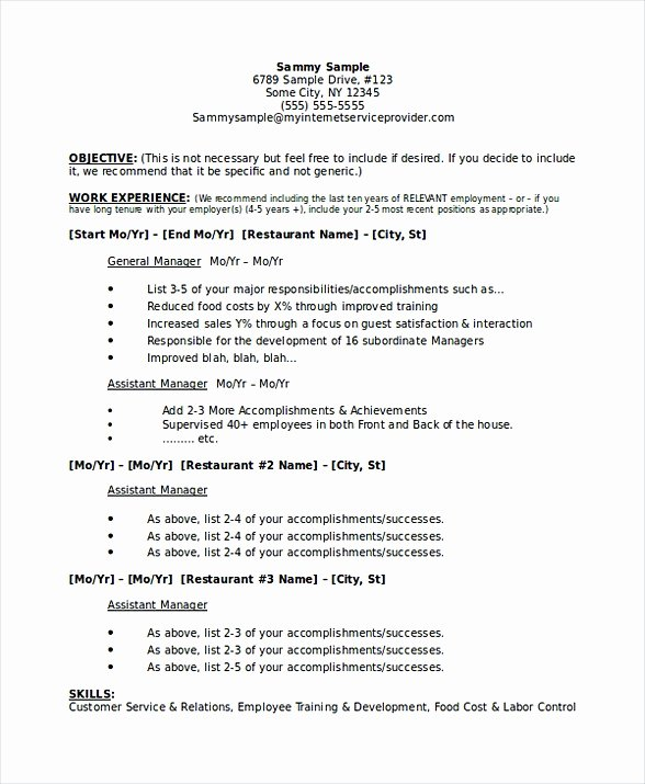 Sample Resume for Restaurant Beautiful Restaurant Manager Resume