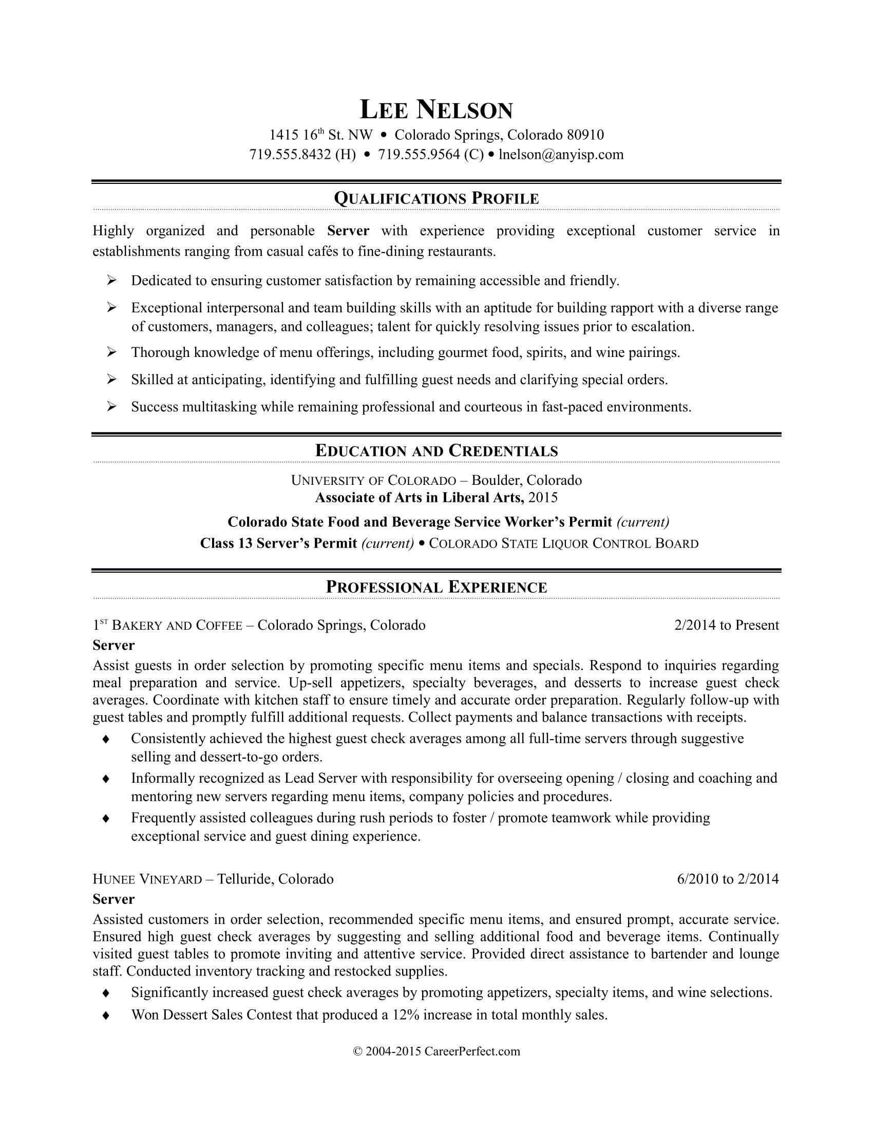 Sample Resume for Restaurant Beautiful Restaurant Server Resume Sample