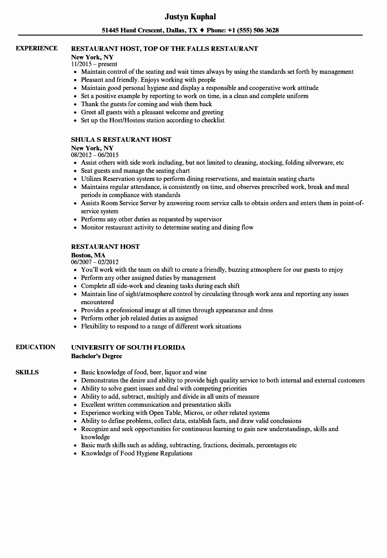 Sample Resume for Restaurant Best Of Restaurant Host Resume Samples