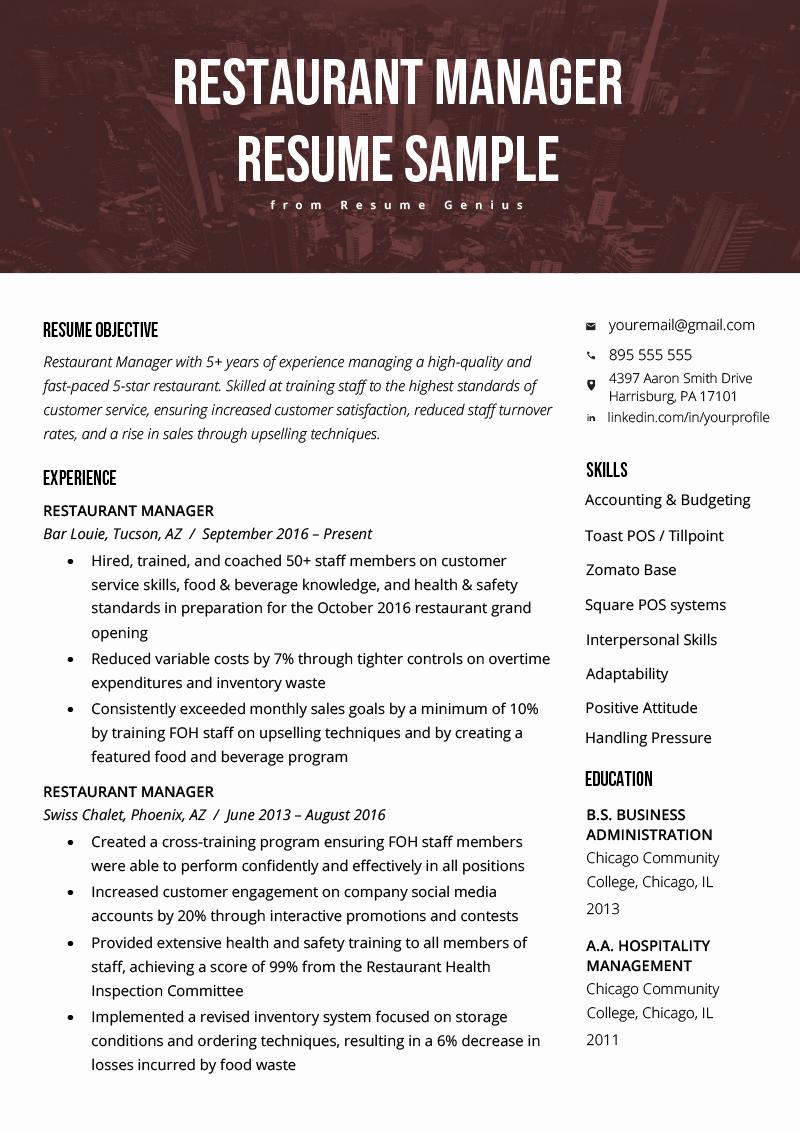 Sample Resume for Restaurant Fresh Restaurant Manager Resume Sample & Tips
