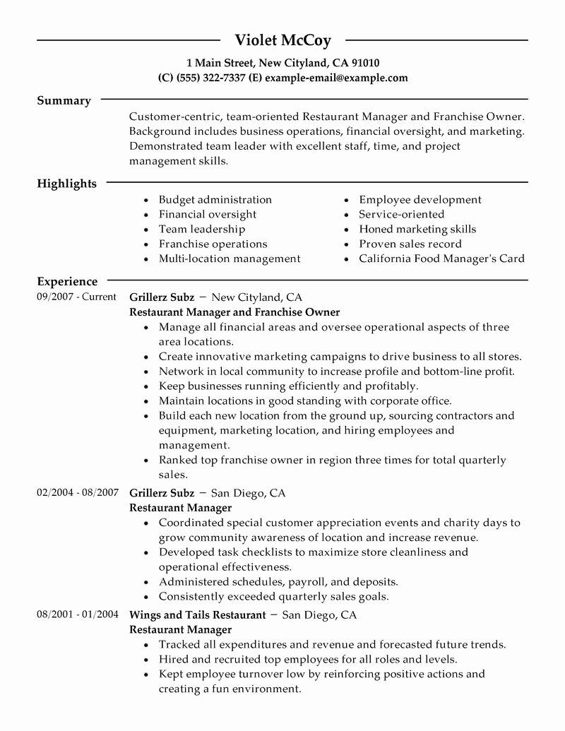Sample Resume for Restaurant Inspirational Best Franchise Owner Resume Example
