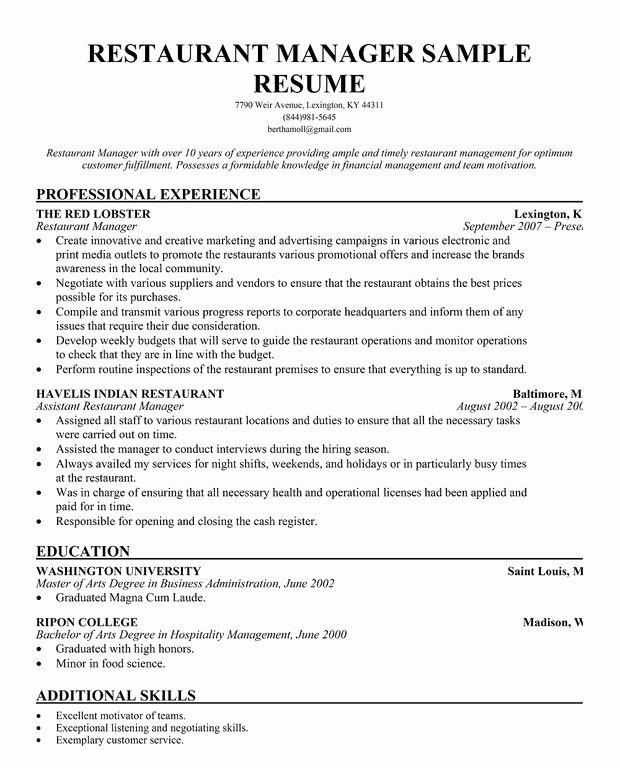 Sample Resume for Restaurant Inspirational Restaurant Manager Resume Template