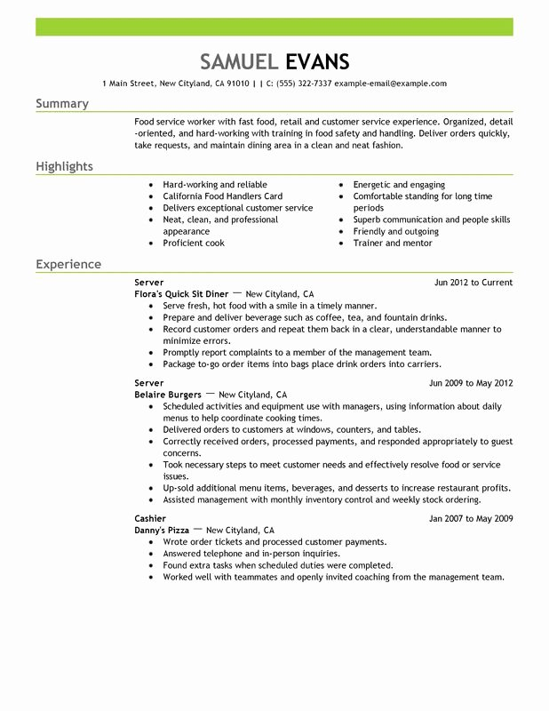 Sample Resume for Restaurant Lovely Fast Food Server Resume Examples – Free to Try today