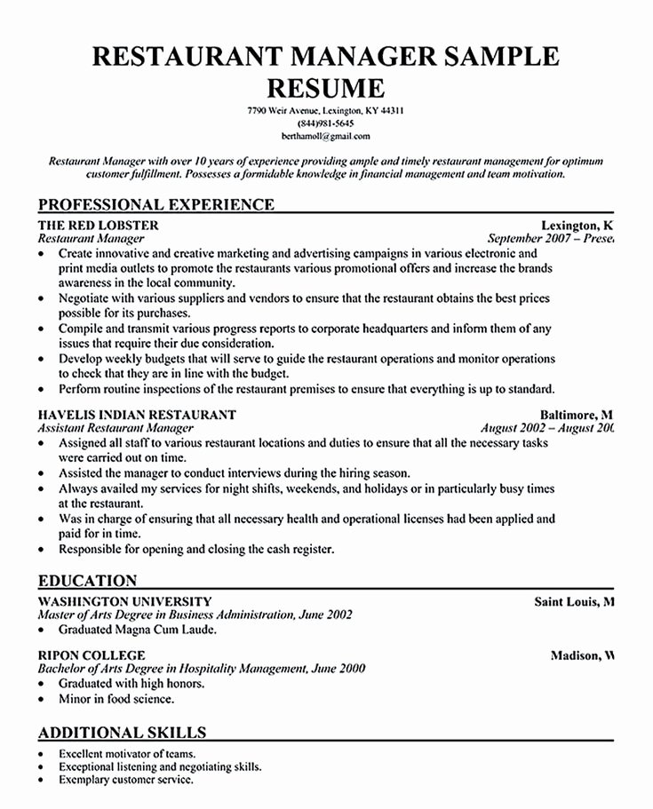 Sample Resume for Restaurant Lovely Restaurant Manager Resume Will Ease Anyone who is Seeking
