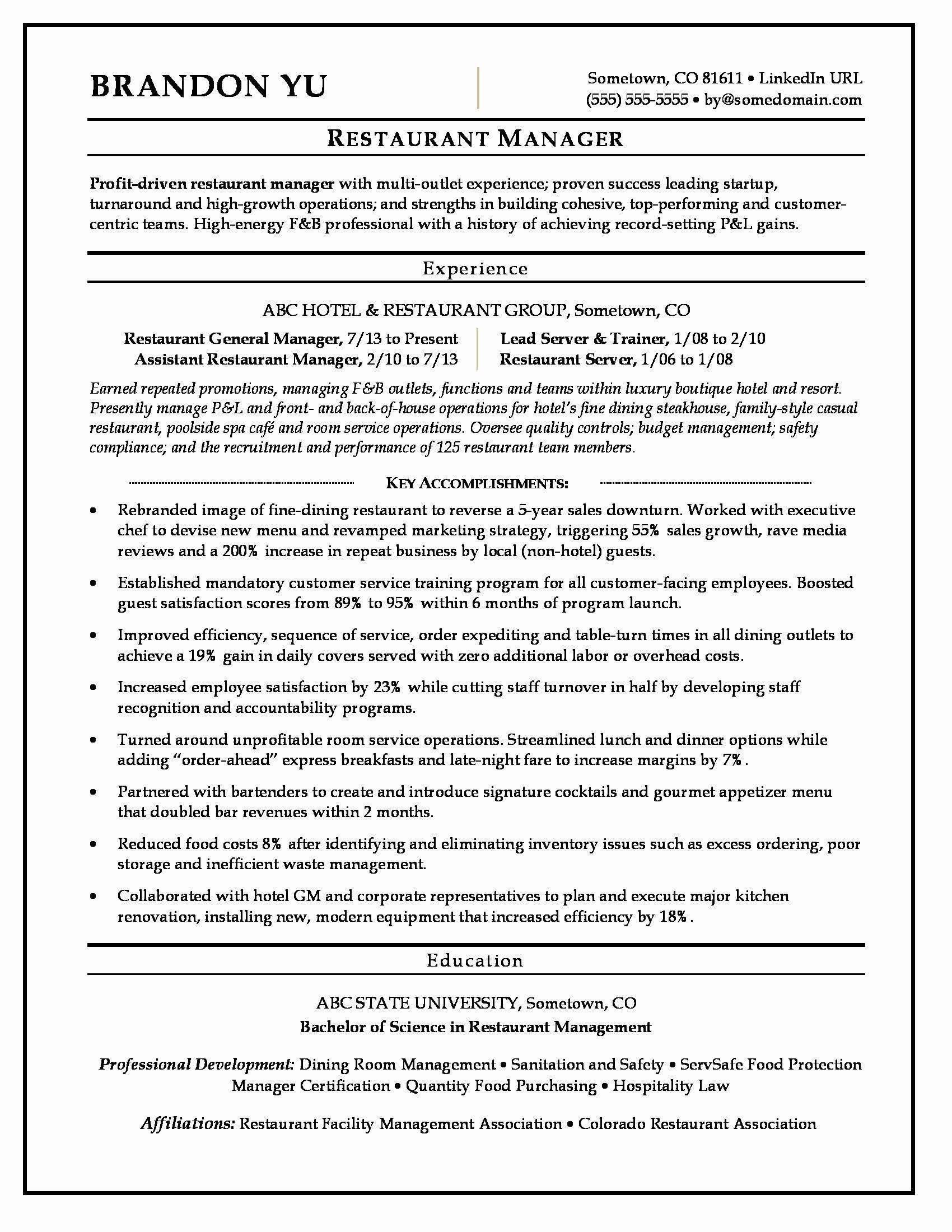Sample Resume for Restaurant Unique Restaurant Manager Resume Sample