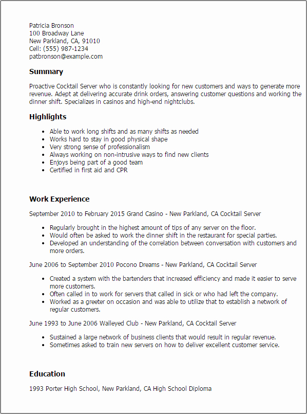 Sample Resume for Waitress Awesome 1 Cocktail Server Resume Templates Try them now