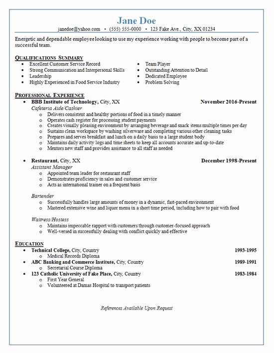 Sample Resume for Waitress Beautiful Restaurant Server Resume Example Bartender Hostess