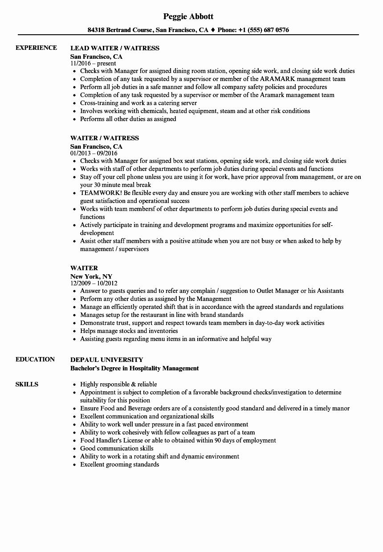 Sample Resume for Waitress Beautiful Waiter Resume Sample