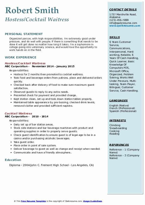 Sample Resume for Waitress Elegant Cocktail Waitress Resume Samples