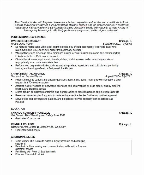 Sample Resume for Waitress Lovely Sample Waiter Resume 6 Documents In Pdf Word