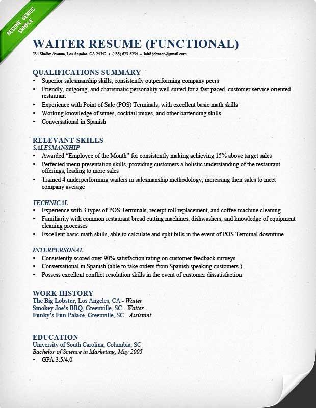 Sample Resume for Waitress Luxury Food Service Waitress & Waiter Resume Samples & Tips