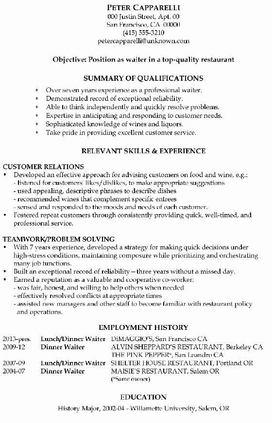 Sample Resume for Waitress Luxury How to Write A Speech the Muse Waitress Resume Sample