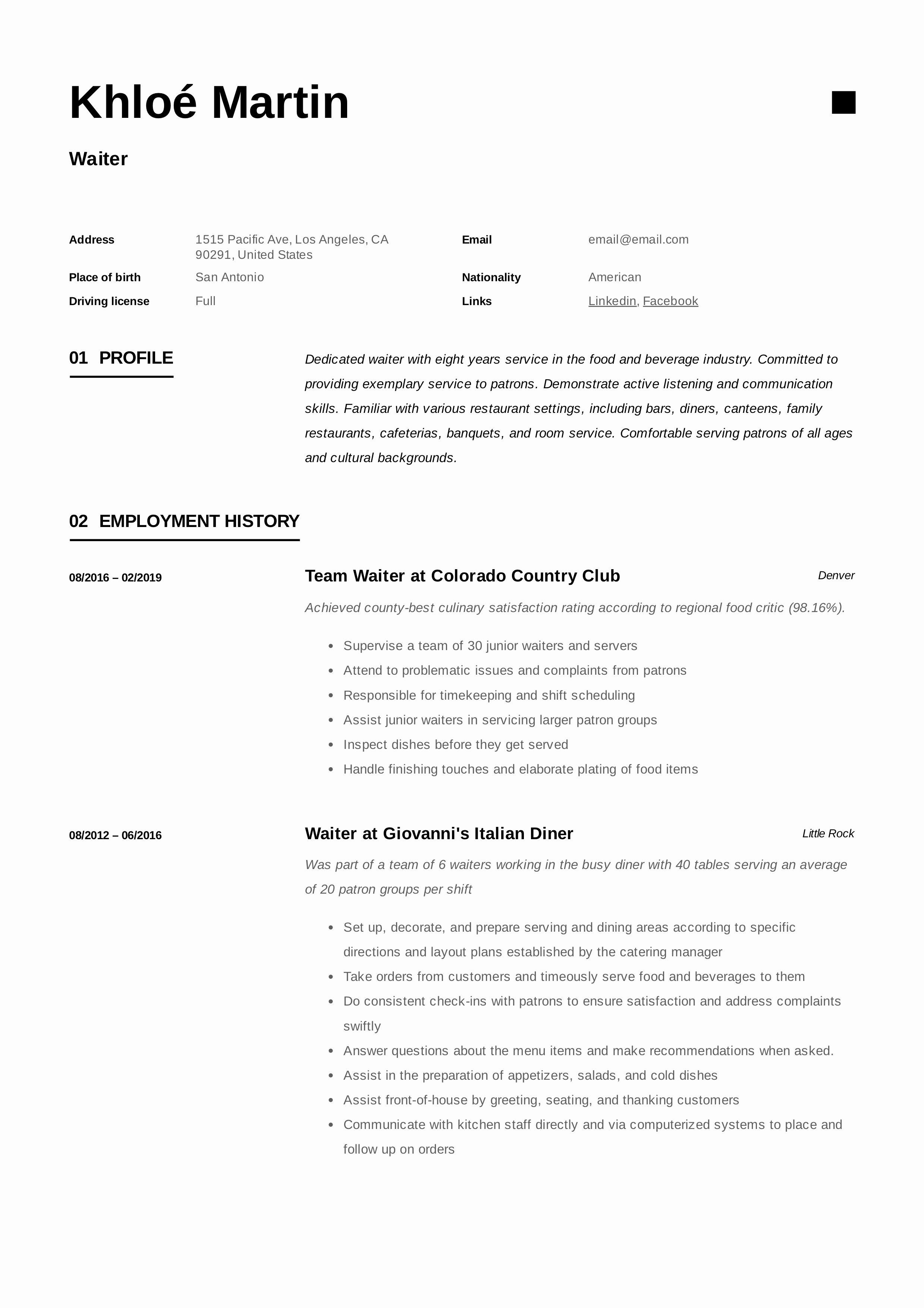 Sample Resume for Waitress New Waiter Resume & Writing Guide 12 Samples Pdf