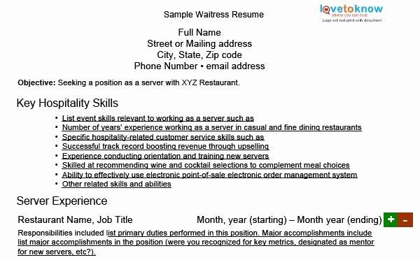 Sample Resume for Waitress New Waitress Resume