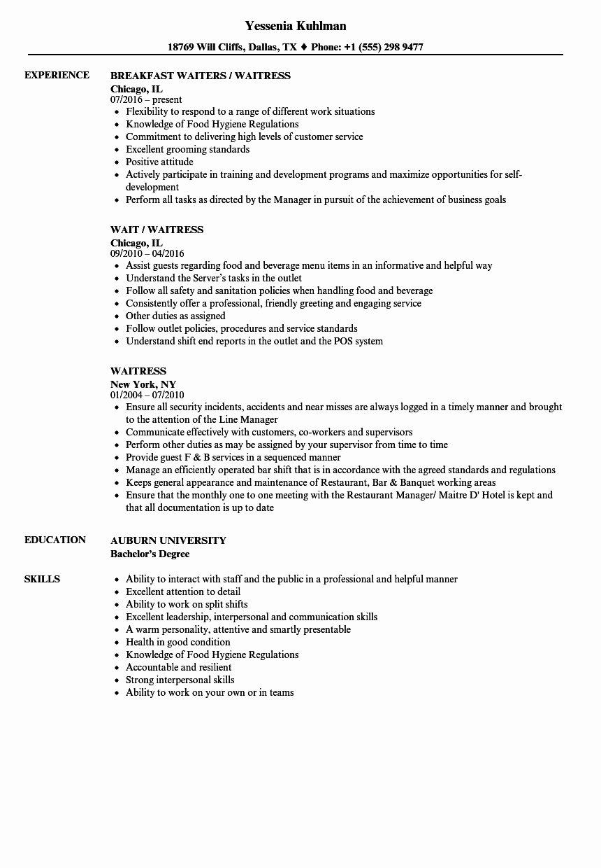 Sample Resume for Waitress Unique Waitress Resume Samples