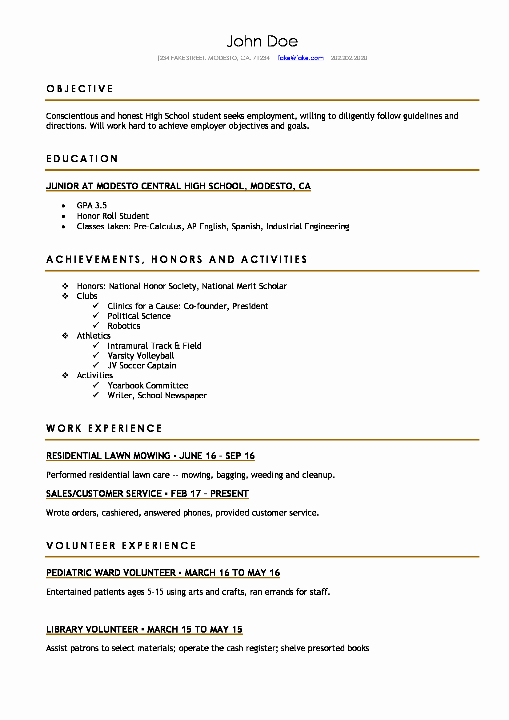 Sample Resume High School Beautiful High School Resume Resumes Perfect for High School Students